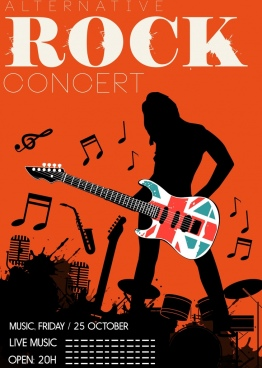 rock concert poster silhouette splashing grunge decor