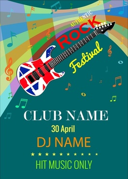rock festival banner flyer guitar colorful notes symbols