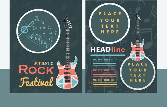 rock festival banner guitar and notes vignette design