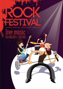 rock festival leaflet stylish rocker icons grunge decor
