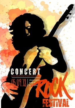 rock festival poster player silhouette watercolor grunge decor