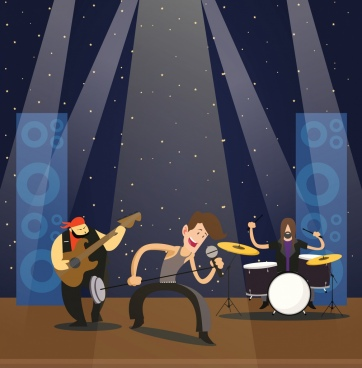 rock music background performer icons colored cartoon