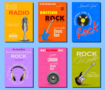 rock music banner sets illustration with musical instruments