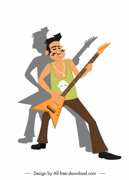 rock music icon performing guitarist sketch cartoon character