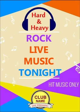rock music party flyer flying notes colorful design