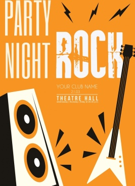 rock party banner guitar speaker icons classical design