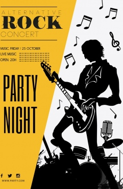 rock party banner guitarist icons silhouette design