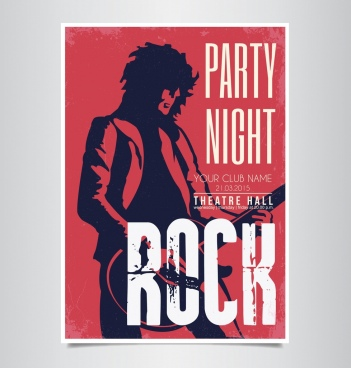 rock party banner singer silhouette dark red decor