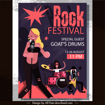 rock party flyer template band icon classical design