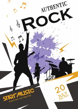 rock poster template grunge silhouette decoration performer icons