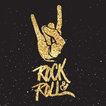 rock roll background glittering golden decor hand icon