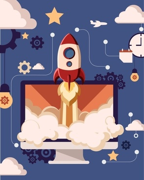 rocket and monitor cartoon vector