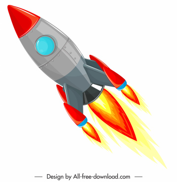 rocket spaceship icon colorful modern design flying sketch