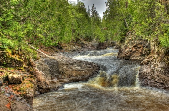 rocks and rapids at cascade river state park minnesota