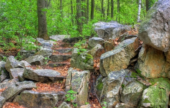 rocks and stairs at rib mountain state park wisconsin