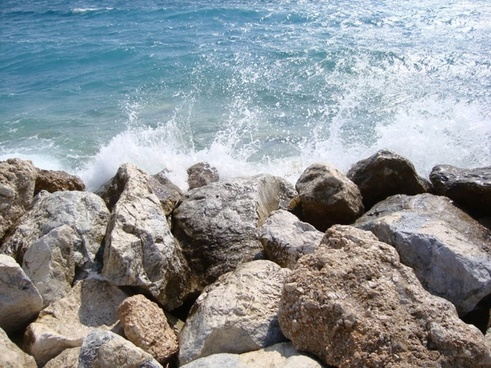 rocks sea wave