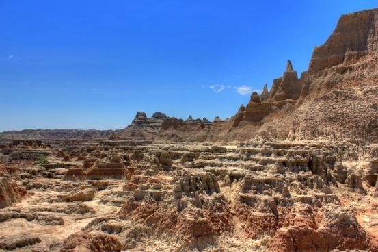rocky limestone structures at badlands national park south dakota