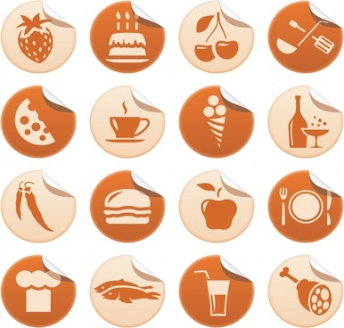 restaurant sticker templates food icons classical flat sketch