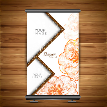 roll up banner design with flower background