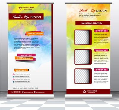 roll up banner design with water color background