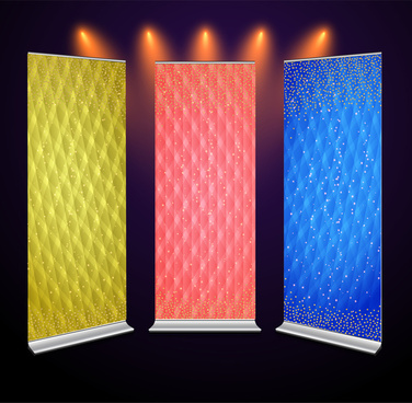 roll up banner sets design with twinkling background