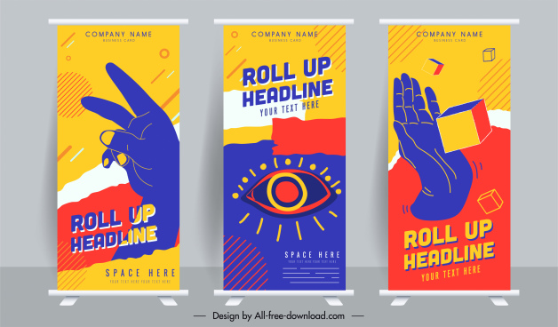 roll up banner templates hand cube eye sketch