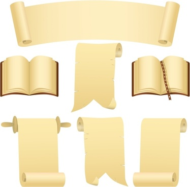 paper templates book page scroll edit icons decor