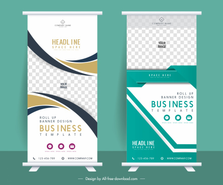 rolled up banner templates modern elegant checkered decor
