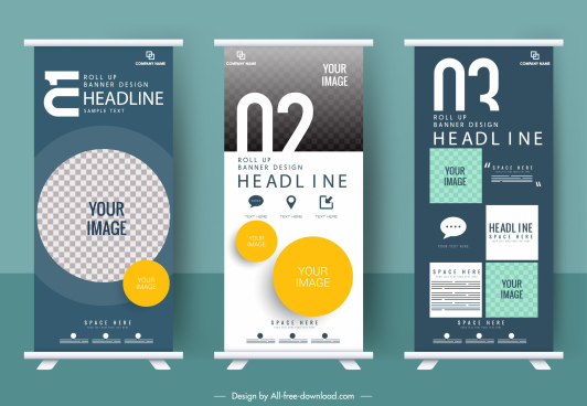 Roll Up Banner Template Free Vector Download 26737 Free