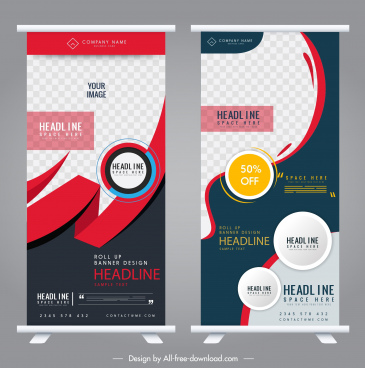 rolled up banners templates colorful modern decor