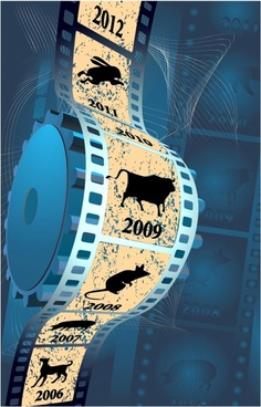 movie banner 3d dynamic filmstrip animals years sketch