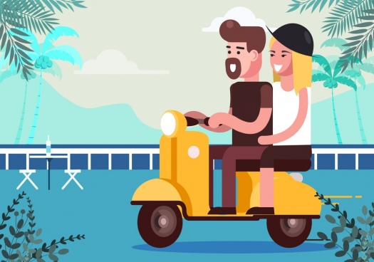 romance background couple riding scooter cartoon design