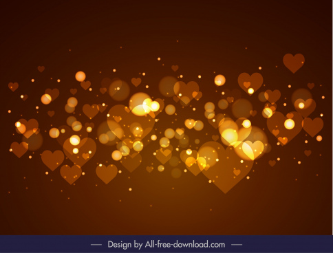 romance background hearts light decor modern bokeh design