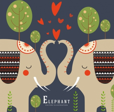 romance background kissing elephants icons symmetric design
