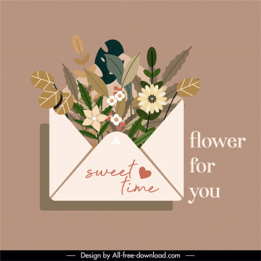 romance card design elements floral envelope sketch