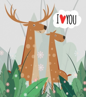 romance card template reindeer icons cute cartoon design
