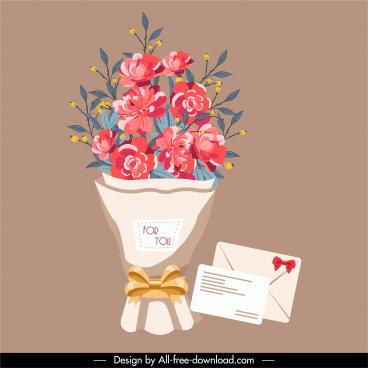 romance design element bouquet card sketch