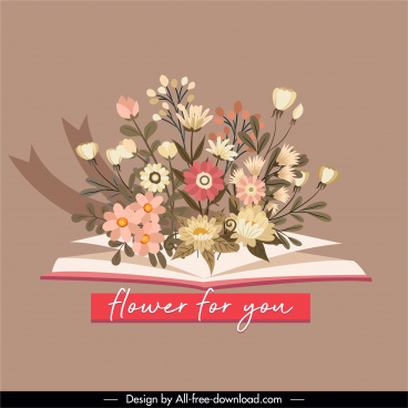 romance design element flowers book sketch