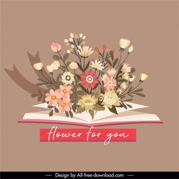romance design element flowers book sketch