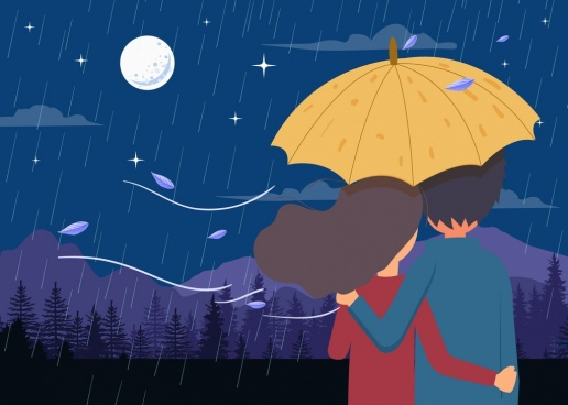 romance drawing couple rain moonlight icons colored cartoon