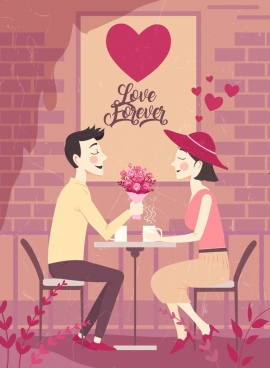 romance drawing loving couple heart decor colored cartoon