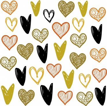 romance love background heart icons handdrawn repeating design