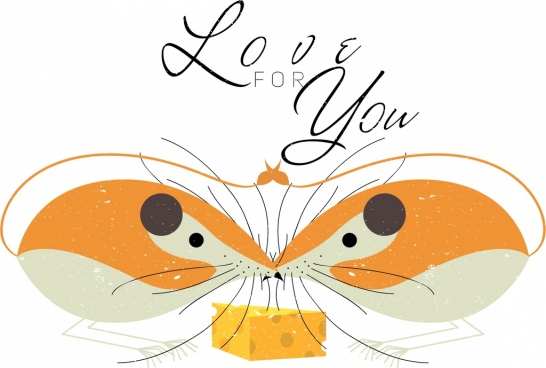 romance love background mouse icon symmetric design