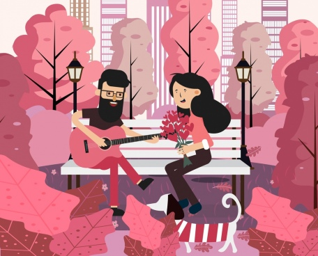 romance painting happy couple park icon colored cartoon
