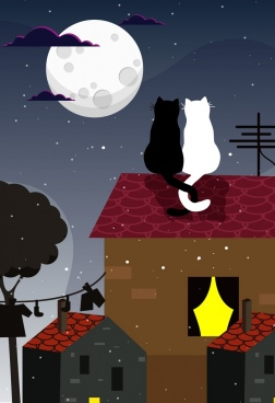 romantic background cats couple moonlight icons