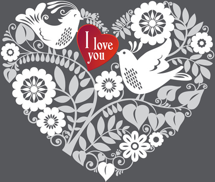 romantic birds with floral hearts vector