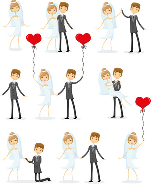 romantic bride and groom design vector