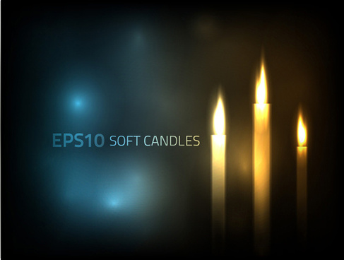 romantic candle elements vector