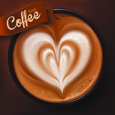 romantic coffee labels design vector