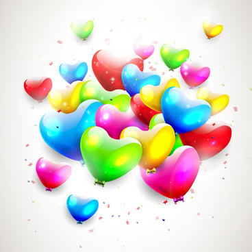 romantic color balloons background art